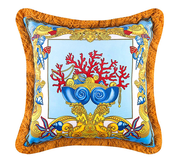 50cm Royal Medusa Barocco Decorative Pillows Cover Luxury Baroque Velvet Pillows Covers ThickenTassel Cushions Case Creative Home Cojines