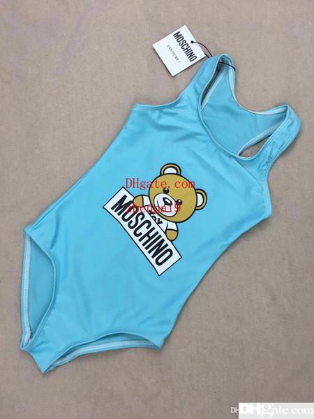 2019 Summer one -piece baby girls jumpsuits swimwear Funny bear swimsuit kids beach clothing