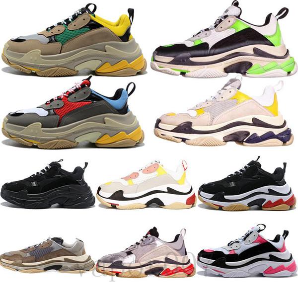 2019 triple S vieux balanciaga balenciaga femme chaussures tripler baskets vert semelle transparente chaussures rétro scarpe femmes zapatos hommes hommes hombre zapatillas noir