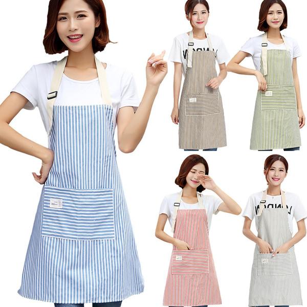 Brief Adjustable Cotton Linen Stripe Kitchen Apron For Women Chef Apron Baking Accessories Commercial Restaurant Bib