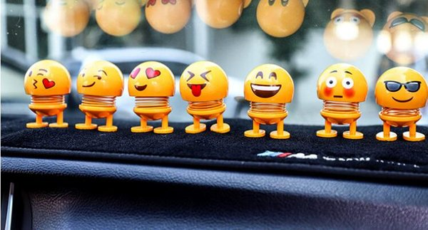 top popular Car Ornaments Spring Shaking Head Doll Expression Emoji Automobiles Decor Toys Cute Auto Interior Car Decoration Accessories 2019