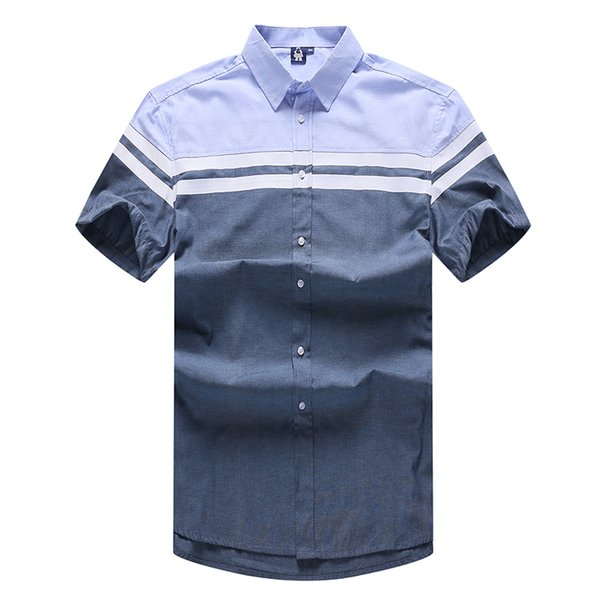 10XL 9XL 8XL 6XL Men Short Sleeve Shirts Striped Fashion Brand Turn-down Collar Slim Fit Breathable Men Casual Shirt Blue Color