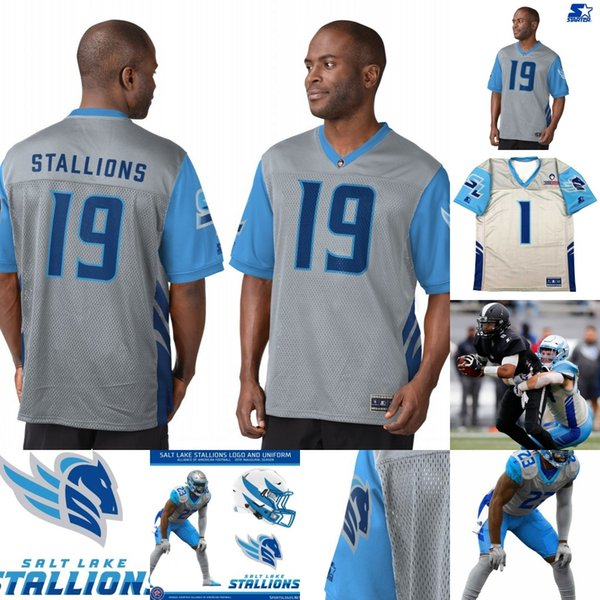Mens Salt Lake Stallions Jersey 1 Taylor Bertolet 5 Austin Rehkow 56 Colton Taylor 93 Chris Odom Alliance of American Football Jerseys