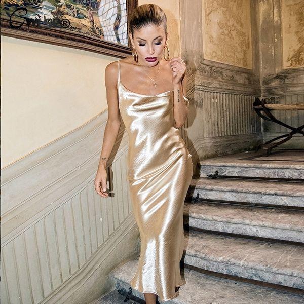 Cwlsp Gold Open Back Sarafan Dress Female Party Strap Dresses Long Vestido Backless Skinny Satin Robe Longue Femme Ql4100 J190714