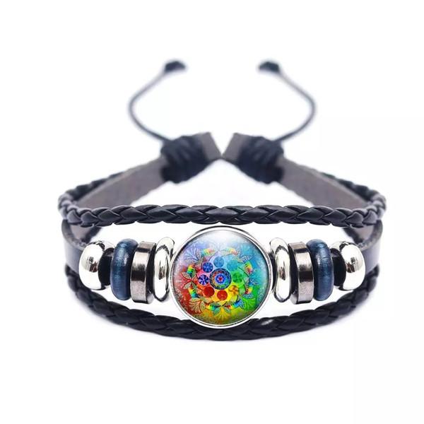 Pulsera de botón a presión ajustable trenzada hecha a mano pulsera de cuero negro con flores para mujeres hombres brazalete de regalo de joyería de moda al por mayor