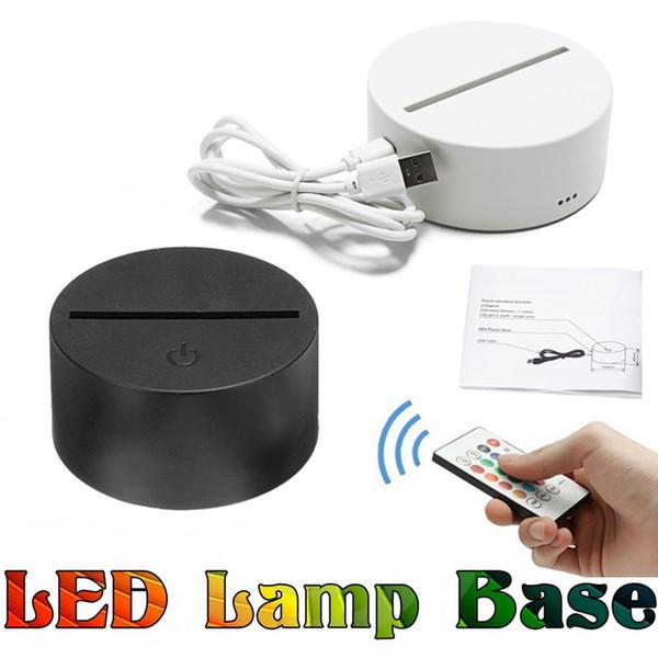Base de lámpara LED para luces LED de 7 interruptores táctiles de color para lámpara de ilusión 3D Panel de luz acrílica de 4 mm Batería o USB