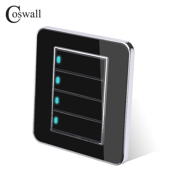 top popular Wall Light Switch Coswall Brand 4 Gang 2 Way Random Click Push Button With LED Indicator Acrylic Crystal Panel Mirror 2021
