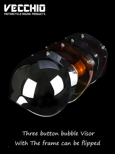 mirror 3-snaps vintage retro jet motorcycle helmet bubble shield visor shield glass lens Beon Torc Gxt open face helmet glasses