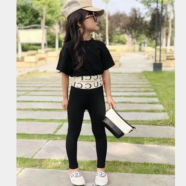 Ragazze Outfits Moda Estate Bambini Imposta bambini vestito nero Tops + pantaloni bambini abiti firmati ragazze Abbigliamento ragazzi vestiti A4466