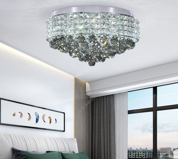 2019 Dimmable Crystal Ceiling Round Chandelier Modern Crystal Led Lighting  Chandeliers Living Room Bedroom Flush Mount Ceiling Light Fixtures MYY From  ...