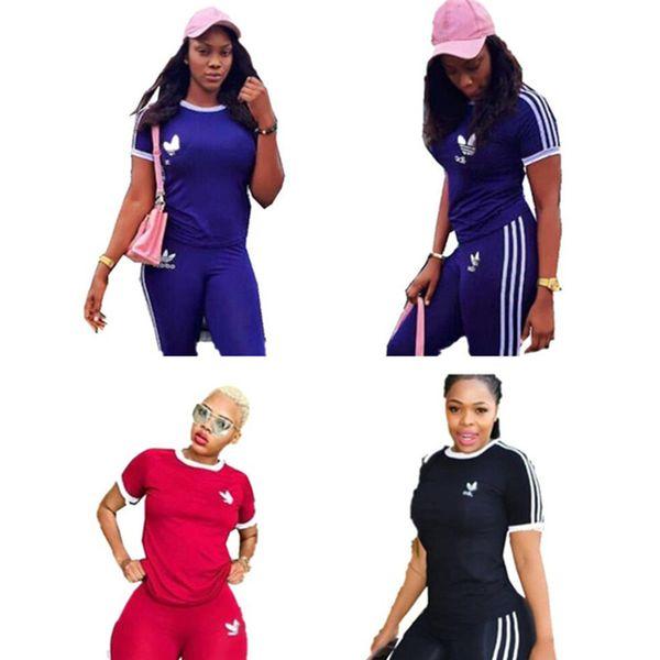 Desinger Survêtement Eté Pour Femme Marque AD T-shirt Sweat + Pantalon Leggings 2 Pièce OutFits Body Sports Street Joggers Suit A52704