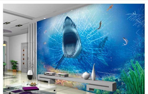 3D duvar kağıdı özel fotoğraf ipek duvar duvar kağıdı HD 3d korkunç büyük beyaz köpekbalığı çocuk odası oturma odası TV arka plan duvar çıkartmaları