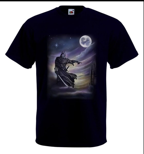 T-shirt Airbrushed Dark Knight dipinta a mano in qualsiasi taglia T-shirt Fashion Unisex Donna Spedizione gratuita nero