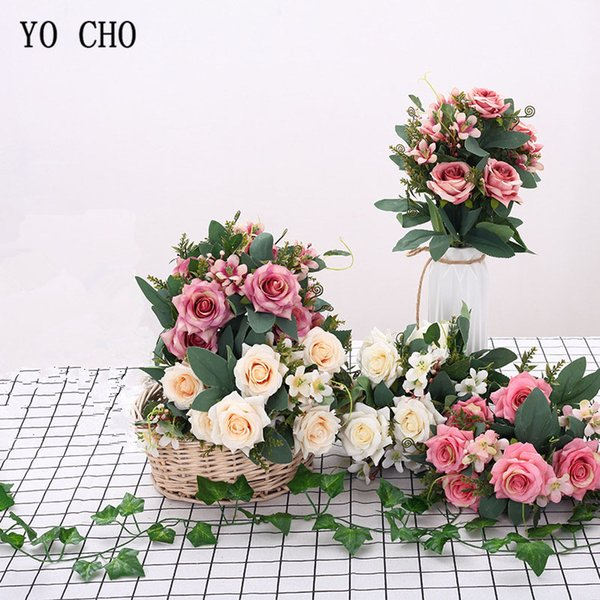 YO CHO Bouquet Bride Wedding Flower Bridesmaid Bouquet High Quality Artificial Silk Simulation Rose 8 Heads Flower DIY Home Party Decor