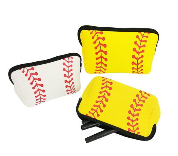 2020 nouvelle Plaid Baseball Floral Sac cosmétiques en néoprène Imprimer Sac Fourre-Tout Sacs maquillage waterproof Voyage Kit Sac de toilette portable de stockage