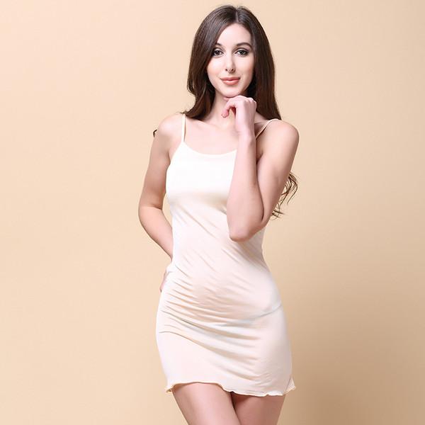 Été femmes 100% soie réel Robes en maille Slash sans manches Nightgowns confortable Respirant Femme Robes 5301