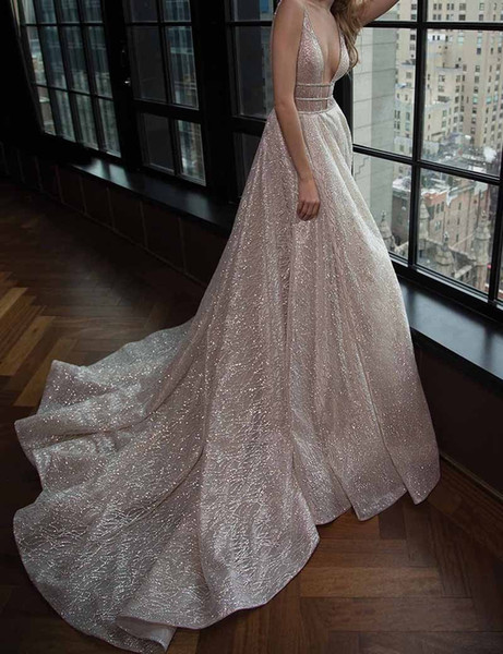 Spaghetti Straps A-line Deep V-neck Court Train Open Back Champagne Sequined Prom Dress With Beading Cutout Side Evening Dresses J190613