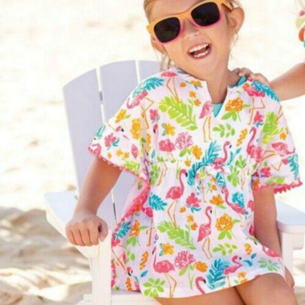 Lovely Kids Baby Girl Summer Beach Dress Toddler Bawting Sleeve Flower Impreso Sundress Bikini Cover Ups