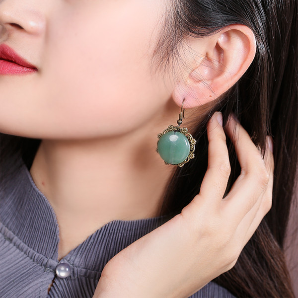 In 2019 Chinese Style Ethnic Style Earrings Women's Retro Temperament Jade Earrings Palace Accessories Simple Tibetan Jewelry New