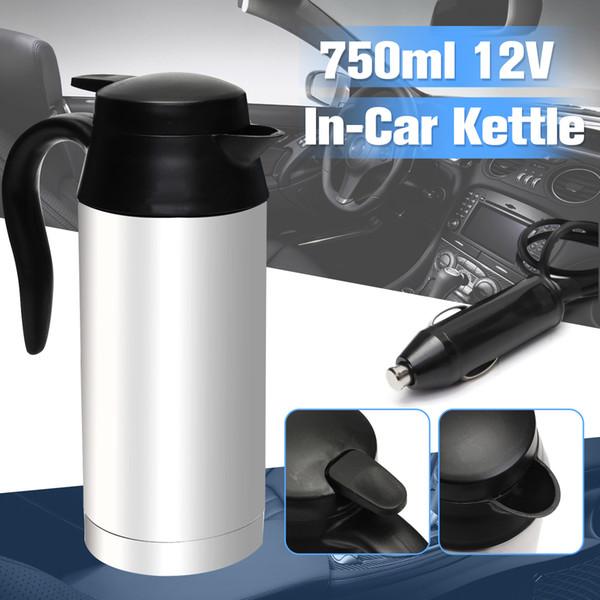 In acciaio inox 12 v bollitore elettrico 750 ml in auto viaggio viaggio caffè tè riscaldato tazza motore acqua calda per auto o camion uso T190619