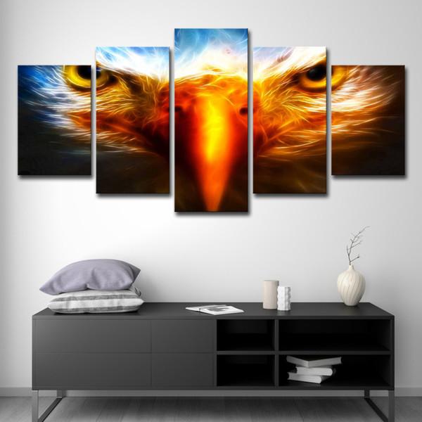 Modulaire Toile Peintures Décor À La Maison HD Prints 5 Pièces Eagle Eye Photos Abstrait Animaux Affiche Salon Mur Art