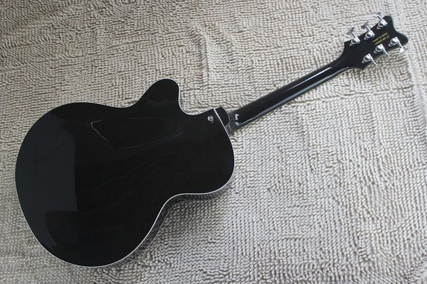 Top quality coreano sintonizadores Falcon 6120 JAZZ semi oco chama corpo com Tremolo preto guitarra elétrica