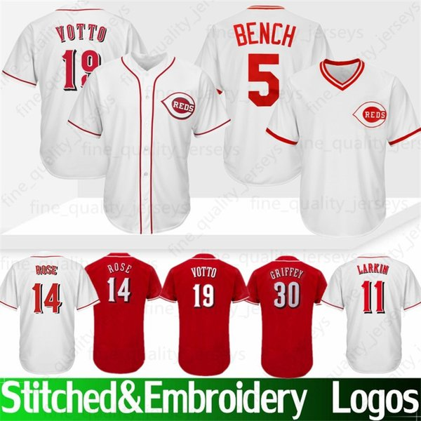 new concept 498f1 b342e 2019 5 Johnny Benc Cincinnati # Reds Jerseys 19 Joey Votto 11 Barry Larkin  17 Chris Sabo 30 14 Pete Rose Jerseys 100% Stitched High Quality From ...