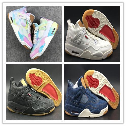 2019 Larry Luk's 4 Basketbol Ayakkabıları Çok Renkli Kot Elbise kutusu Ile Mens Tasarımcı Basketbol Spor Sneaker Boyutu 7-12