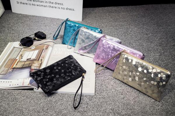 New Fashion Women Long Coin Purse PVC Stone Pattern Pure Color Zipper Storage Bags Case Acces