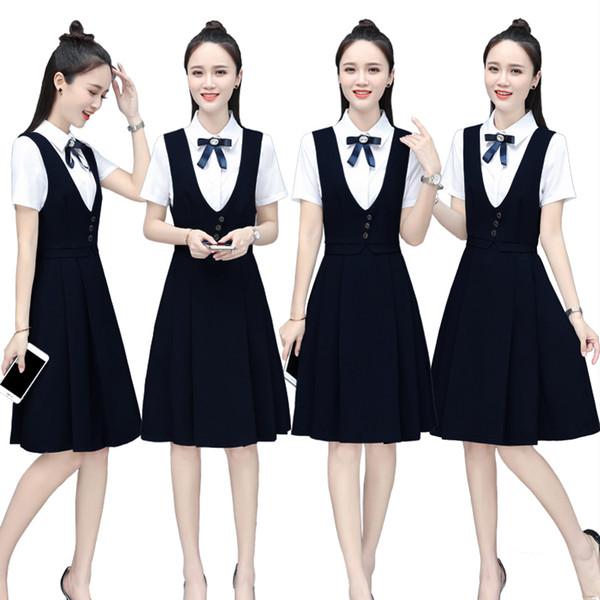 2019 donne estate OL Lady ufficio di lavoro indossare scollo a V camicia bianca arco top vita alta senza maniche carro armato abito formale pieghettato 4XL