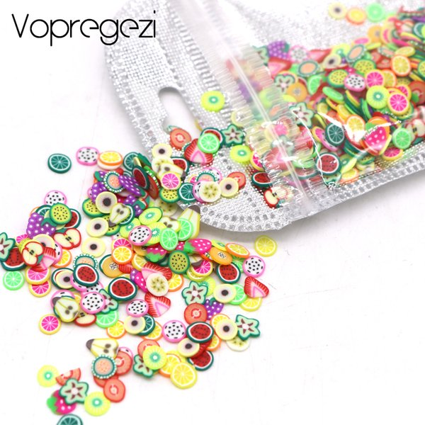 Vopregezi 1000pc/pack Nail Art 3d Fimo Fruit Slices Polymer Clay Nail Designs Stickers Manicure Decorations DIY Tips Accessoires D18120801
