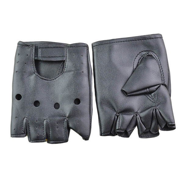 1pair Man Fashion PU Leather Black Half Finger Gloves Cool Heart Hollow Fingerless Gloves Boy For Fitness