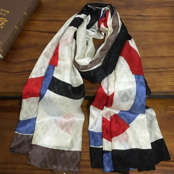 Новый хорошее качество 100% шелк материал печати буквы шаблон Выдалбливают дизайн длинные шарфы для женщин большой размер 180 см - 90 см