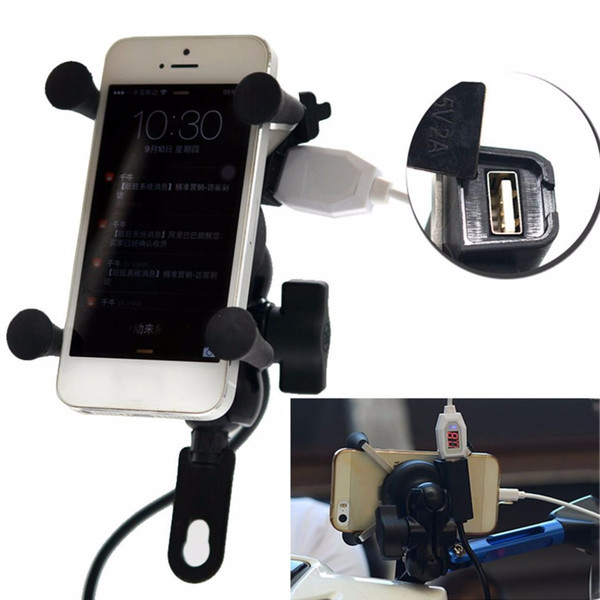 Freeshipping Universal 12V Motorcycle Cell Phone & GPS Mount Holder X Grip Clamp with USB Charger 5V/2A For Electric Bicycle Scooter ATV