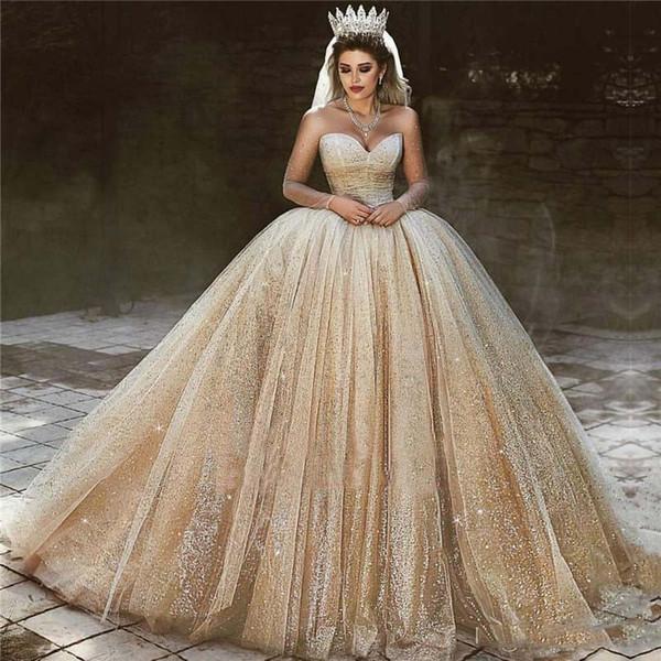 Acheter 2019 Luxe Arabe Lumière Robes De Mariée En Or Paillettes Princesse  Robe De Bal Robe De Mariée Royale Sweetheart Cristal Étincelante Robes De