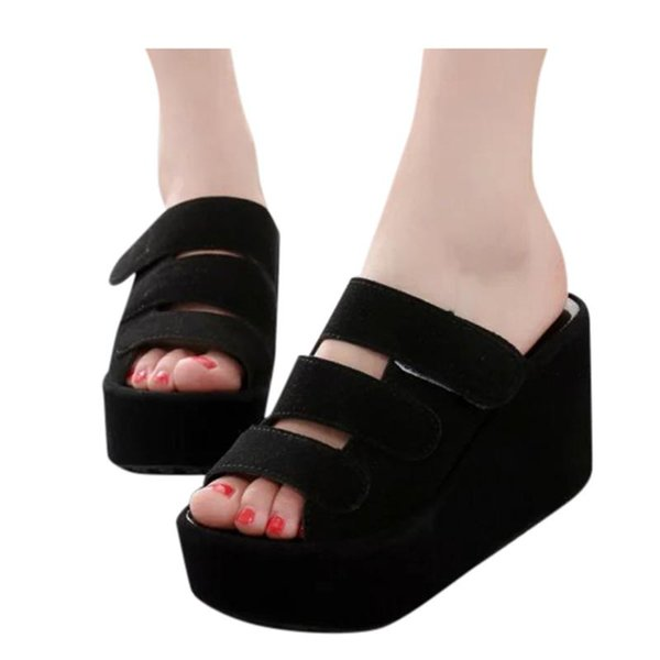womens wedges slippers summer non-slip platform open toe flip-flops shoes woman breathable thick bottom shoe plus size slippers