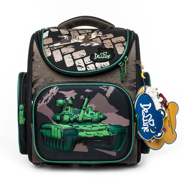 2019 Delune Brand Kids Boys New School Bag 3d Tank Design Waterproof Orthopedic Backpack Book Schoolbag Mochila Infantil Escolar