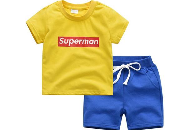 Summer New Korean Children's Leisure Suit Pure Color Short Sleeve T-shirt + Short Pants Two-piece Suit