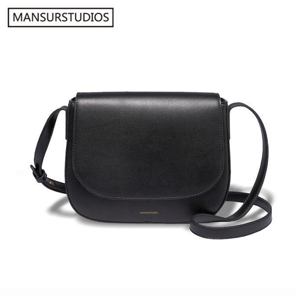 Mansurstudios mulheres Split couro Crossbody Bag, Lady couro bolsa de ombro, menina de couro, Gurriel Saddle Bag mansur, Y19061803