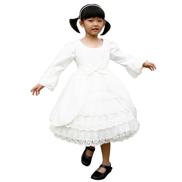 Ivory Children A line Scoop neck Flare Sleeve satin & beaded & sequined bodice Lace skirt with Bowknot & Appliques Flower Girls Gown 23028
