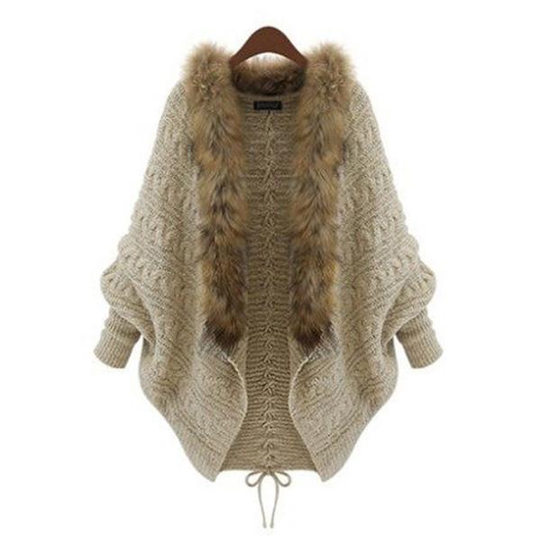 Hot Women Fur Collar Cardigan Imitation Raccoon Hair Female Sweater Rear Drawstring Design V-Neck Batwing Sleeve Winter Outwear