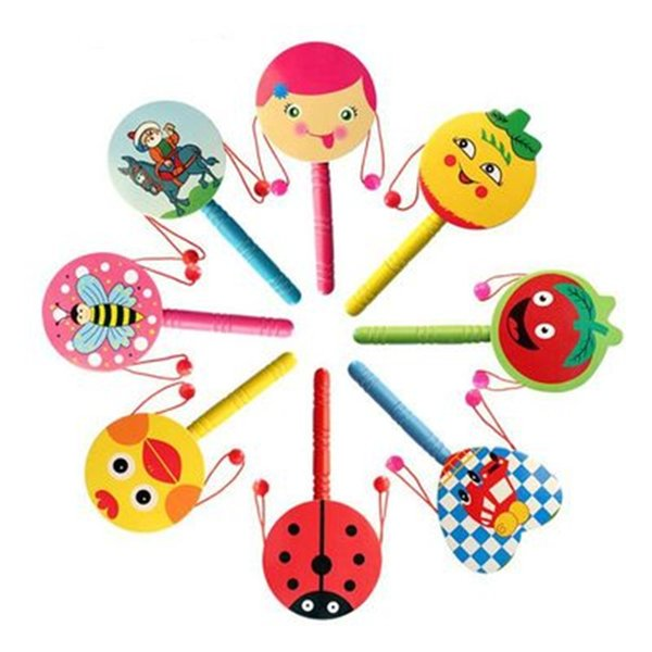 Cartoon Drum-shaped Wooden Rattle Traditional Handbell Jingle Rattle Toy Musical Instrument For Baby Kid Randomly Colors Intellectual Toys