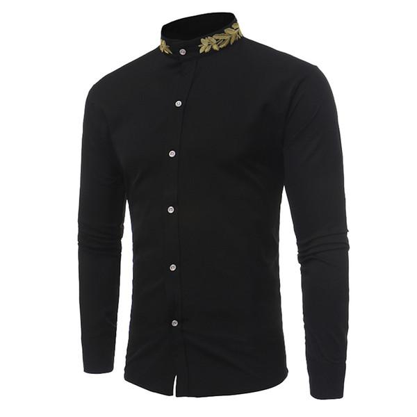 New Spring Autumn Shirt Men Long Sleeve Stand Collar Shirt Men Slim Fit Button Formal Occasion Shirts