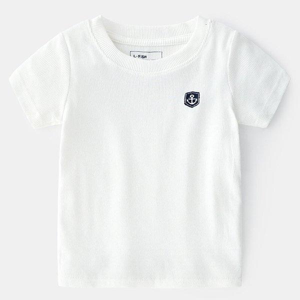 NUEVO Diseño Barco Ancla Bordado Verano Niños Camisetas Puro Sólido Amarillo Blanco Verano Niños Tops Camisetas Sail Girls Camisetas de manga corta para niños