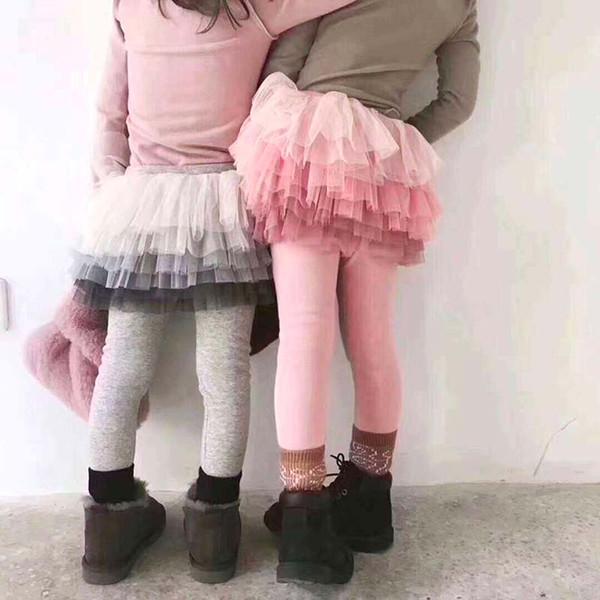 Yeni Sonbahar Kız Tozluk Çocuklar Tutu Etek Tayt 2019 Bahar Dantel Etek Pantolon Çocuk Pantolon 5 p / l