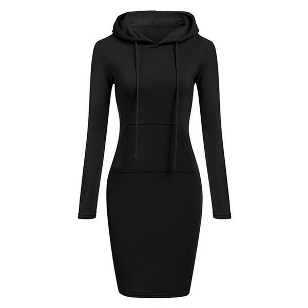Autumn Winter Warm Sweatshirt Long-sleeved Dress 2019 Woman Clothing Hooded Collar Pocket Design Simple Woman Dress