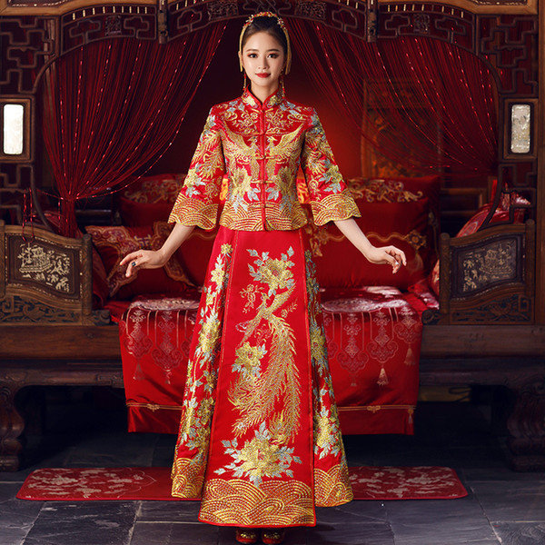 Vestido de boda bordado de Phoenix de las mujeres Tradiciones de la novia vestido de noche tradicional chino Cheongsam Qipao de manga larga más el tamaño