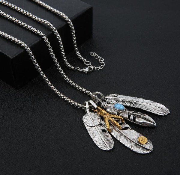 European and American personality feather necklace fake silver alloy imitation stainless steel pendant hip hop jewelry