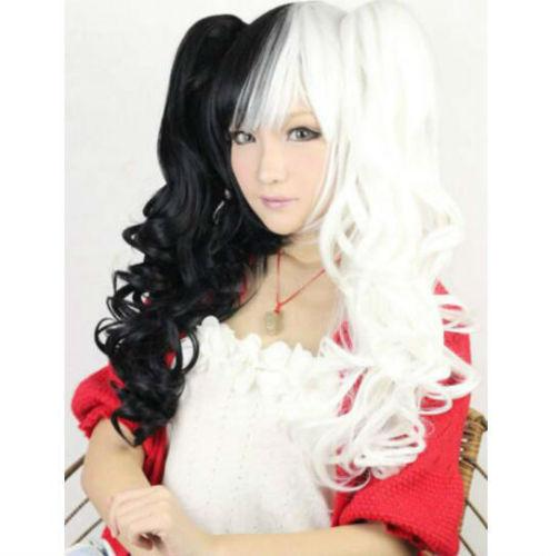 Hot Girls Black White Double Ponytails Wave Hair Women Lolita Kanekalon Heat Resistant Cosplay Party Hair Full Wig Wigs