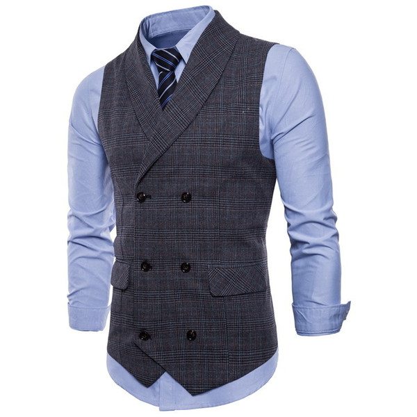 2019 mens Business Casual Plaid Vest gentleman slim Double-breasted British style vest Waistcoat male Sleeveless jacket coat Top